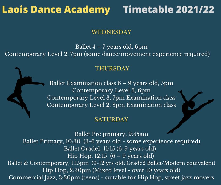 Wednesday Thursday Friday Saturday 6pm Ballet 4 – 7 years old Primary 5pm Ballet 6 – 9 years old Exam classes 4 – 8pm LYDE seniors 945am Ballet (3 – 6 years old) Pre primary 7pm Contemporary Level 2 6pm Contemporary